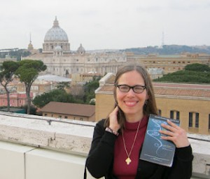 Dawn Eden in Rome with her book