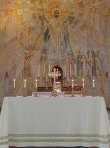 Altar at Bishop O'Connor Center prepared for Mass