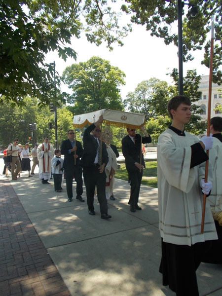 2012 Madison Corpus Christi Procession along the sidewalk on the east side of the Capitol building