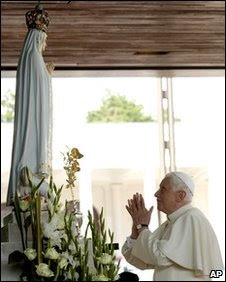 Pope Benedict XVI presented a Golden Rose before the image of Our Lady in Fatima, Portugal, in May 2010. The prayers her composed for this occsasion were extremely beautiful!