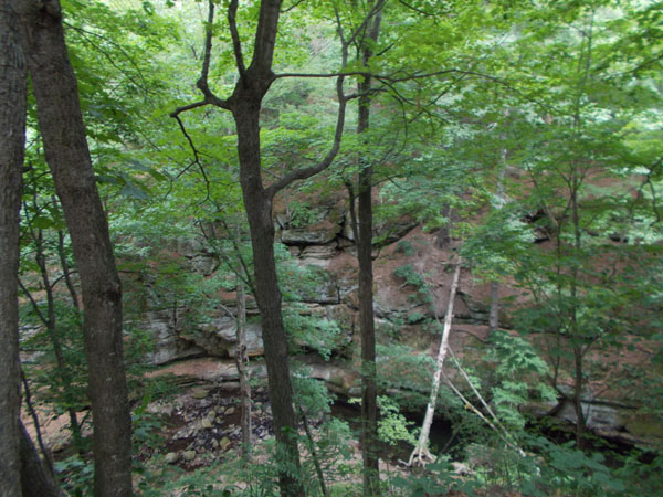 "Durward's Glen gorge, seen from the trail above the outdoor ""Holy Family"" altar"