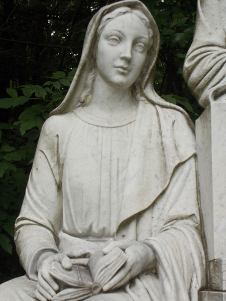 Our Lady, from the marble Holy Family sculpture at the Durward's Glen outdoor altar