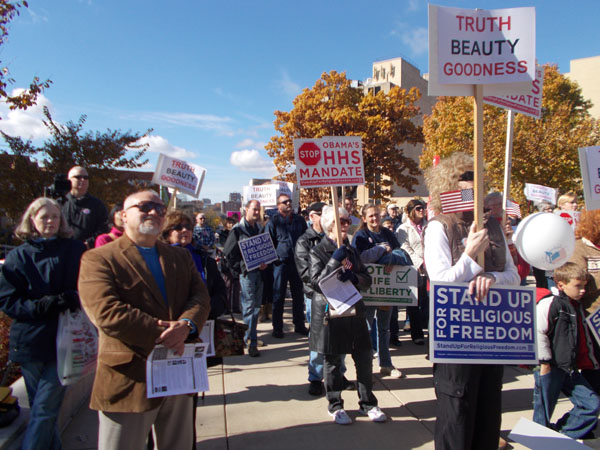 Stand Up For Religious Freedom Rally crowd, Oct 20 2012
