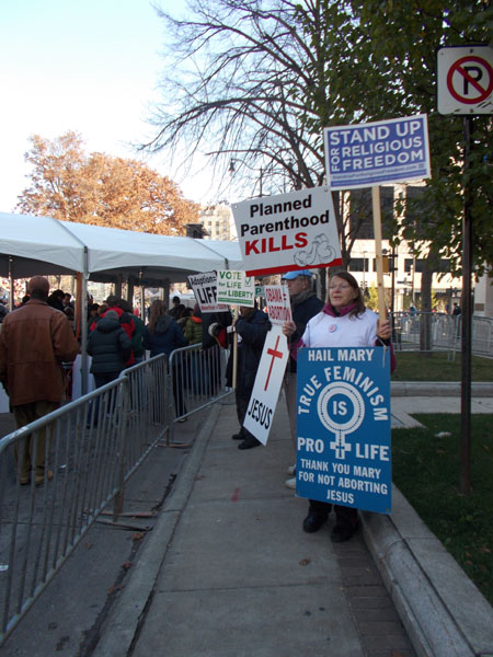 Nov 5 2012 Pro-life and religious freedom protest against Obama in Madison, WI