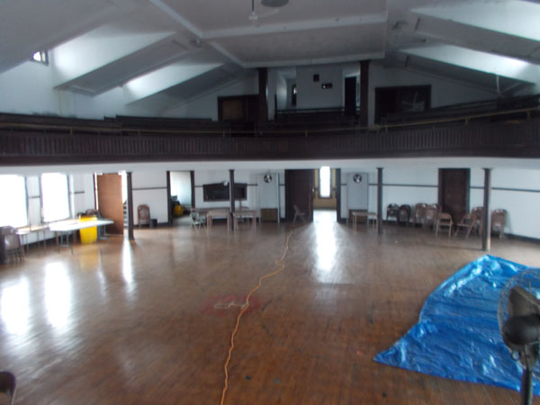 View of balcony from stage of Holy Redeemer School Auditorium