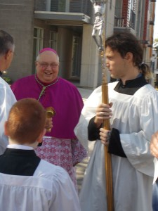 Bp Morlino at the blessing of the Stations of the Cross on the Cathedral site