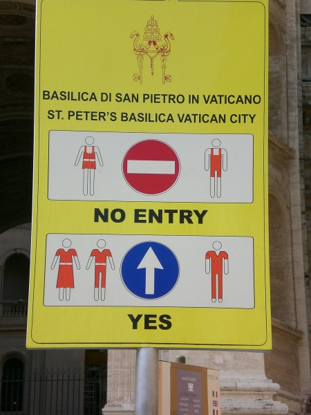 The latest edition of the Vatican Dress Code Sign.