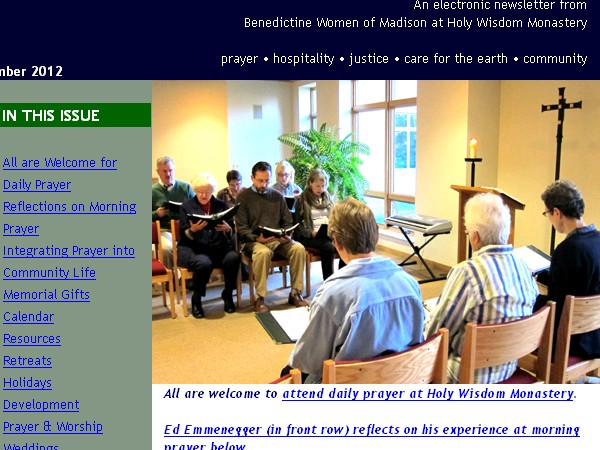 Screengrab of the Holy Wisdom Monastery Newsletter, November 2012