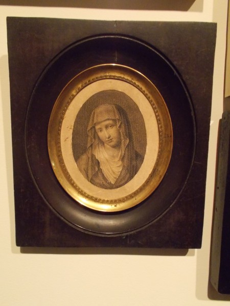Father Mazzuchelli was very devoted to the Seven Sorrows of Mary. Here is a little image that he kept in his room, which is now in the museum at Sinsinawa Mound.