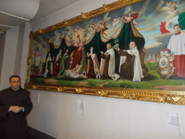 Here is the other painting, just incredible. Both paintings show Our Lady's mantle spread over Saint Teresa, Saint John of the Cross and other Carmelites. She is their patroness. This painting is very recent, that's Pope Francis' crest to the left of the altar boy. And the artist included some Holy Hill Carmelites--the frist furthest to the right is Padre Celedonio himself, and over on the left is Father Jude the prior of the community! This delighted me.
