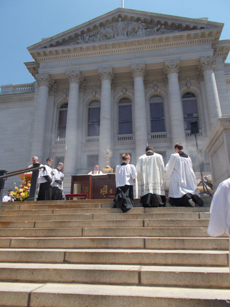 The Blessed Sacrament on the altar set up at the top of the State Street Steps of the Capitol.