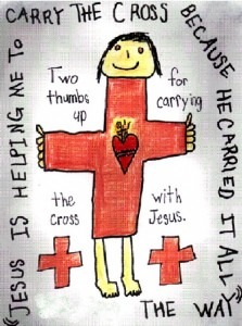 """JESUS IS HELPING ME TO CARRY THE CROSS BECAUSE HE CARRIED IT ALL THE WAY. TWO THUMBS UP FOR CARRYING THE CROSS WITH JESUS."""