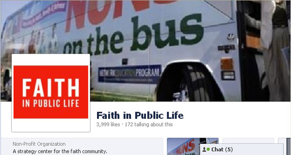 Faith in Public life on Facebook, featuring the Nuns on the Bus as their cover image