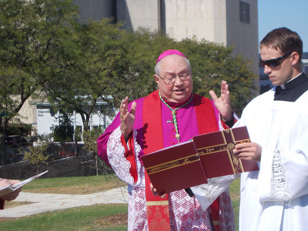 Bishop Morlino spoke before blessing the Stations about our religious freedom and the contemporary phenomenon of Crosses being taken down from public places, by aggressive secularists. The Cross is the sign we Christians are known by, he said, and must be visible.