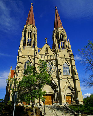 Next on this site: a new cathedral. To make this happen, we must be willing to sacrifice for love of Jesus and His Church. This is stunning St Helena's Cathedral in Helena, Montana, which was Bishop Morlino's see before he came to Madison. St Helena was the mother of the emperor Constantine and is credited with finding the True Cross on which Our Lord was crucified in Jerusalem, and preserving it. Bishop Morlino blessed us with a relic of the True Cross following the blessing of the Stations.