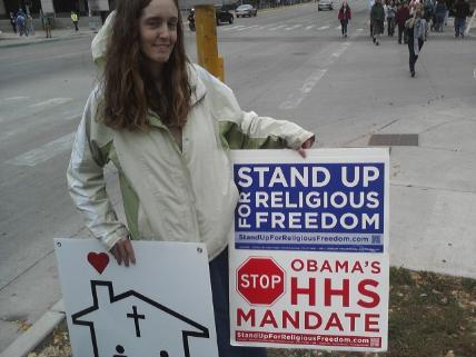 Me, protesting Obama, taken by Capitol Times reporter
