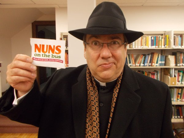 Fr Z with Nuns on the Bus sticker!