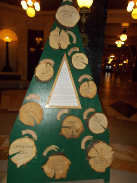 """A display reveals this was not true every year! A display reveals that last year Governor Walker broke the trend of labeling what is obviously a Christmas Tree a """"Holiday Tree."""" A news story from last year reveals this """"Holiday Tree"""" nonsense had been going on for 25 years."""