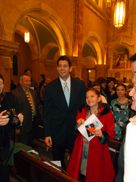 Paul Ryan and daughter Liza, happy after Mass at Holy Hill