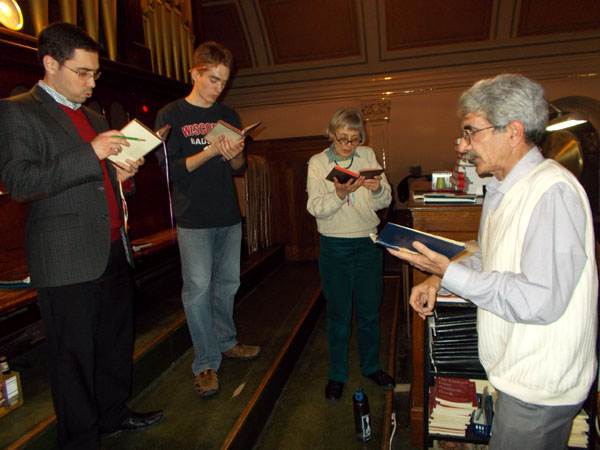 In the Holy Redeemer choir loft at a Tuesday evening practice.