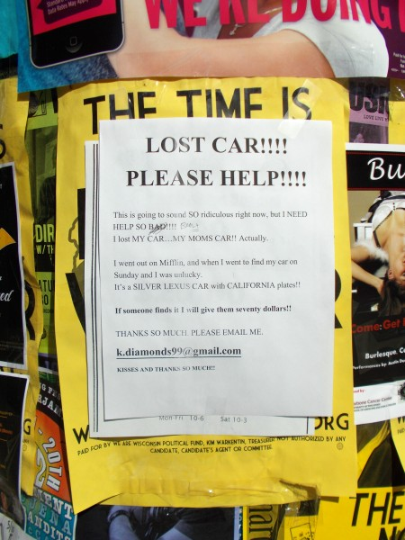 These posters were all over State Street 2 or 3 days after the famously drunken Mifflin Street Block Party. Real? Fake? Either way it does kind of say it all about the Mifflin Street Block Party.