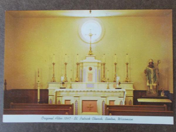 Historic Fr Mazzuchelli altar at St Patrick's in Benton, old postcard