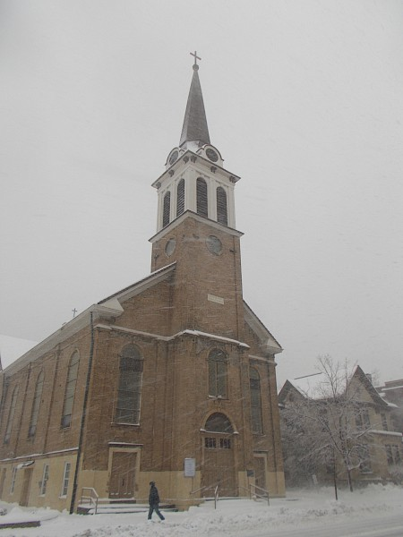 Holy Redeemer Church and rectory in snow