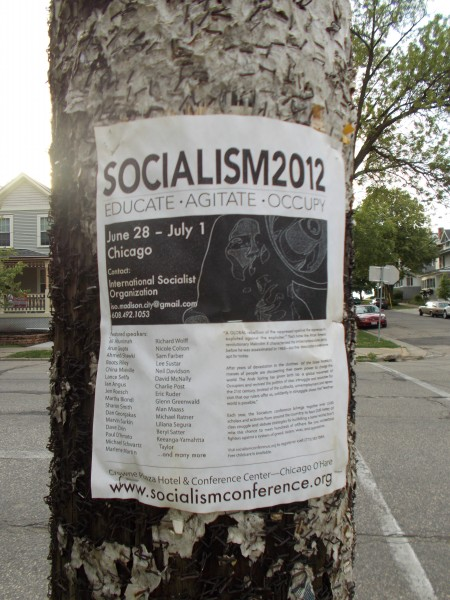 Socialism 2012 Conference poster on E Johnson Street