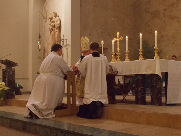 Steve promises obedience to Bishop Morlino and his successors.