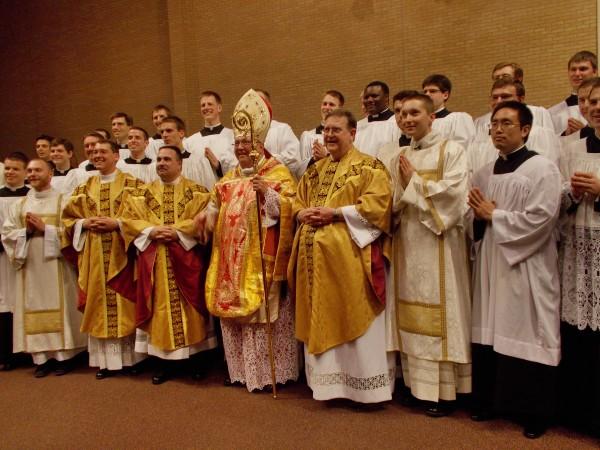 Fr. Garrett Kau, Fr. Vince Brewer, Bishop Robert Morlino, Fr. Steve Petrica