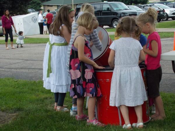 Girls drumming