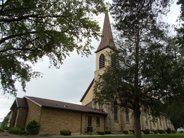 At Saint Mary of the Assumption Church, Pine Bluff (west of Madison, among the farm fields).