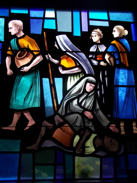 Detail from the Mother Teresa window in the Bishop O'Connor Center chapel