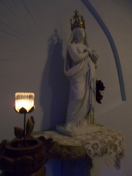 And this statue is a very fine marble carving of Our Lady of Sorrows that was sent to Father Mazzuchelli by the famous French Dominican preacher Lacordaire, is in the reliquary chapel at Sinsinawa. (obviously, not a good photo. Sorry.)