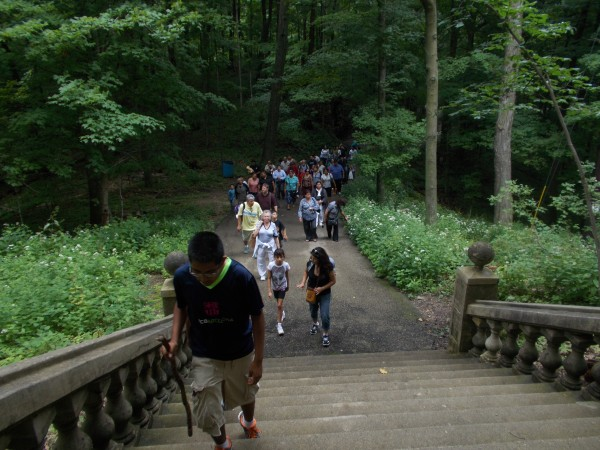 The path climbs more steeply as Jesus' Passion progresses, with many stairs.